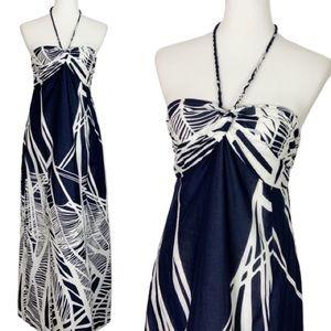 Loft Navy Print Braided Halter Maxi Dress Size 6P